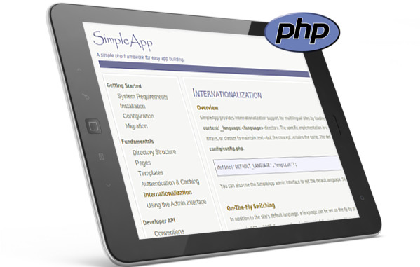 simpleapp for php website screenshot